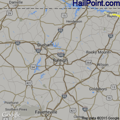 Hail Map for Raleigh, NC Region on May 12, 2015