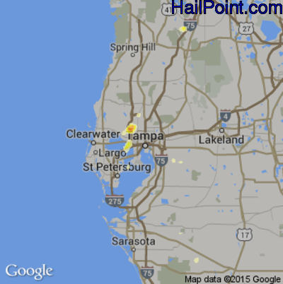 Hail Map for Tampa, FL Region on May 12, 2015