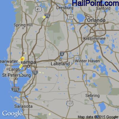 Hail Map for Lakeland, FL Region on May 12, 2015