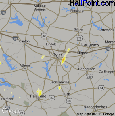 Hail Map for Tyler, TX Region on May 14, 2015