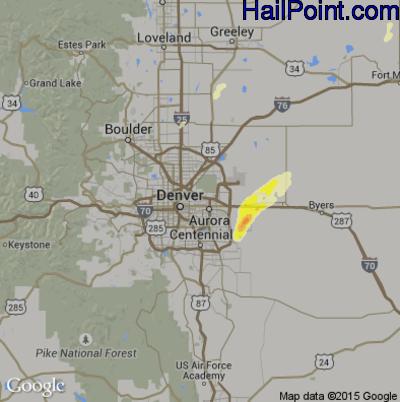 Hail Map for Denver, CO Region on May 15, 2015
