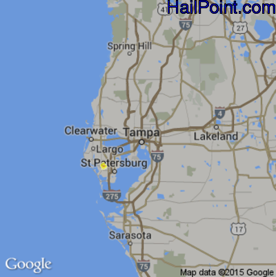 Hail Map for Tampa, FL Region on May 15, 2015