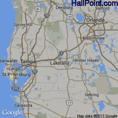 Hail Map for Lakeland, FL Region on May 15, 2015