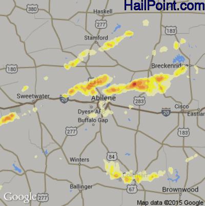 Hail Map for Abilene, TX Region on May 16, 2015