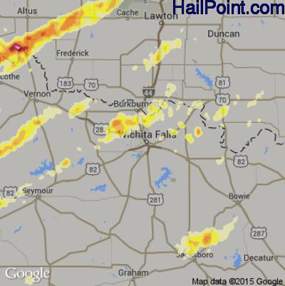 Hail Map for Wichita Falls, TX Region on May 16, 2015