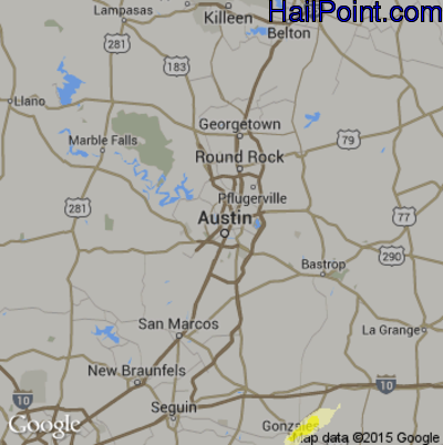 Hail Map for Austin, TX Region on May 18, 2015