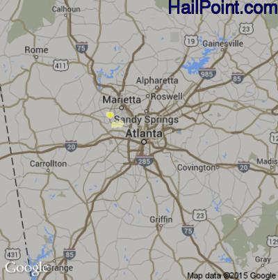 Hail Map for Atlanta, GA Region on May 18, 2015