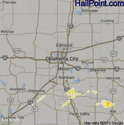 Hail Map for Oklahoma City, OK Region on May 19, 2015