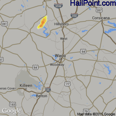 Hail Map for Waco, TX Region on May 19, 2015