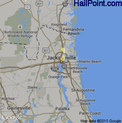 Hail Map for Jacksonville, FL Region on May 19, 2015