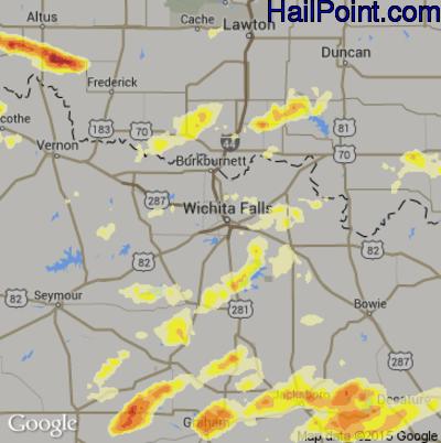 Hail Map for Wichita Falls, TX Region on May 19, 2015