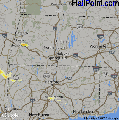 Hail Map for Springfield, MA Region on May 20, 2015