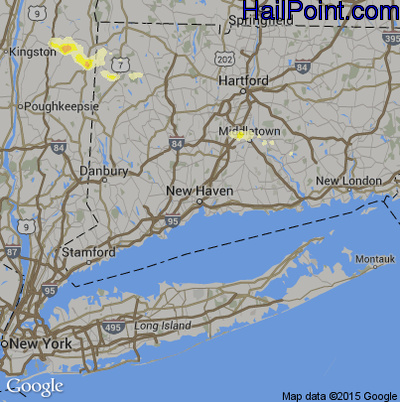 Hail Map for New Haven, CT Region on May 20, 2015