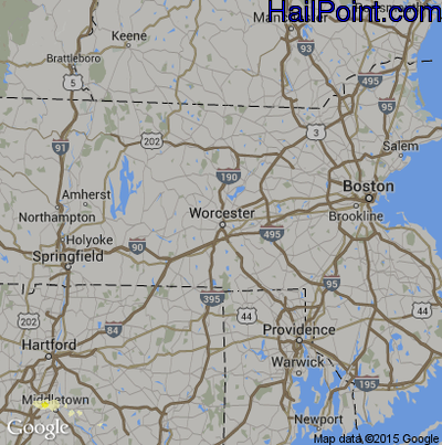 Hail Map for Worcester, MA Region on May 20, 2015