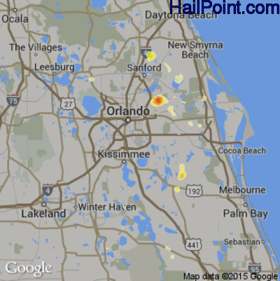 Hail Map for Orlando, FL Region on May 20, 2015