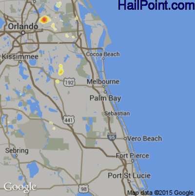 Hail Map for Palm Bay, FL Region on May 20, 2015