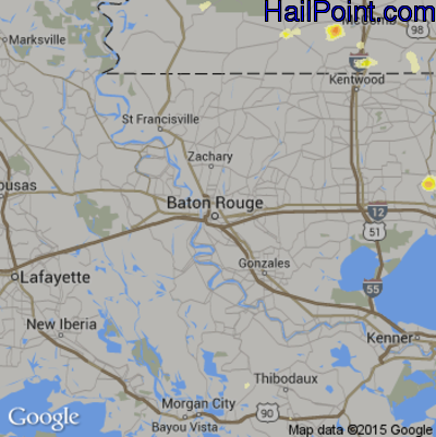 Hail Map for Baton Rouge, LA Region on May 21, 2015
