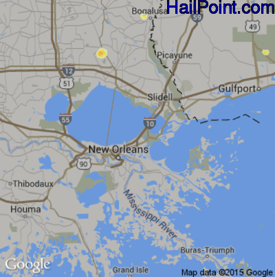 Hail Map for New Orleans, LA Region on May 21, 2015