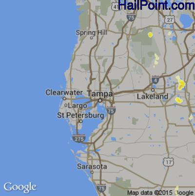 Hail Map for Tampa, FL Region on May 22, 2015