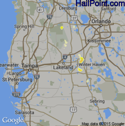 Hail Map for Lakeland, FL Region on May 22, 2015