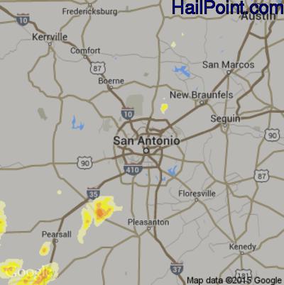 Hail Map for San Antonio, TX Region on May 23, 2015