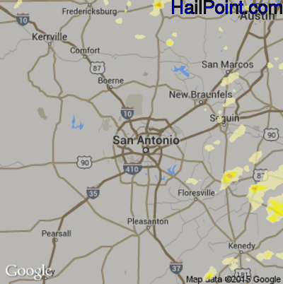 Hail Map for San Antonio, TX Region on May 25, 2015