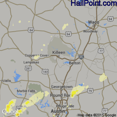 Hail Map for Killeen, TX Region on May 25, 2015