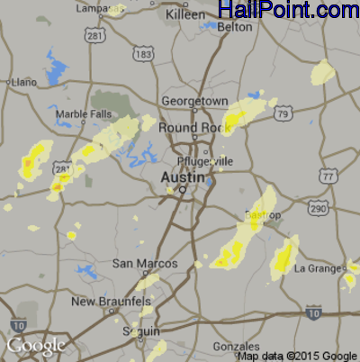 Hail Map for Austin, TX Region on May 25, 2015