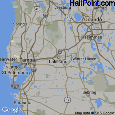 Hail Map for Lakeland, FL Region on May 25, 2015