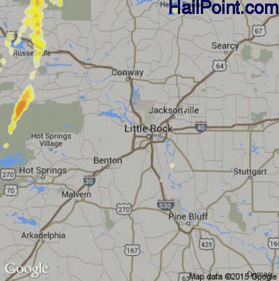 Hail Map for Little Rock, AR Region on May 25, 2015