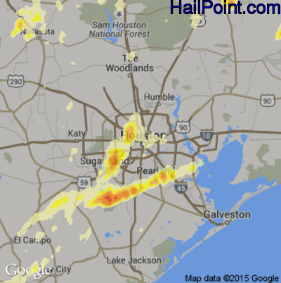 Hail Map for Houston, TX Region on May 25, 2015