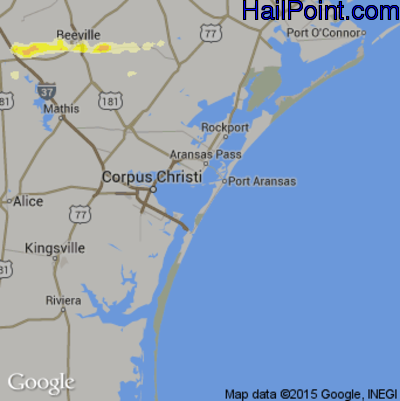 Hail Map for Corpus Christi, TX Region on May 26, 2015