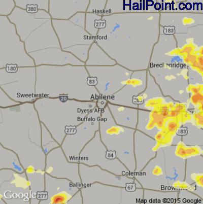 Hail Map for Abilene, TX Region on May 26, 2015
