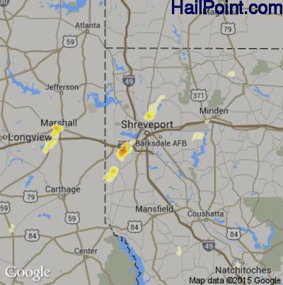 Hail Map for Shreveport, LA Region on May 26, 2015