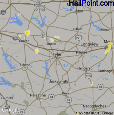 Hail Map for Tyler, TX Region on May 27, 2015