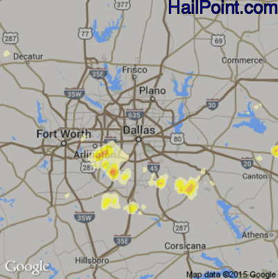Hail Map for Dallas, TX Region on May 27, 2015