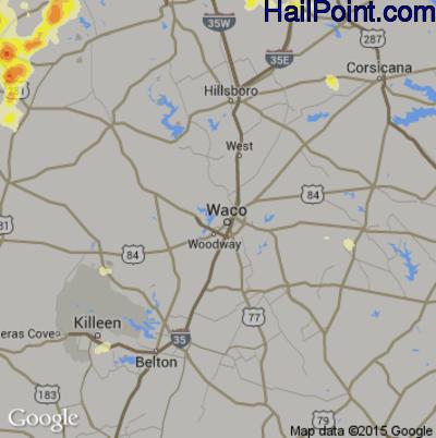 Hail Map for Waco, TX Region on May 27, 2015