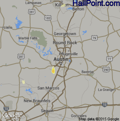 Hail Map for Austin, TX Region on May 27, 2015