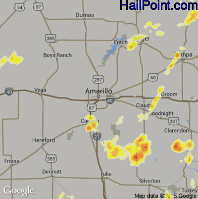 Hail Map for Amarillo, TX Region on May 27, 2015