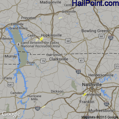 Hail Map for Clarksville, TN Region on May 27, 2015