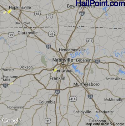Hail Map for Nashville, TN Region on May 27, 2015