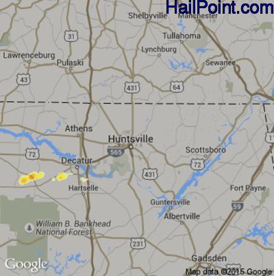 Hail Map for Huntsville, AL Region on May 27, 2015
