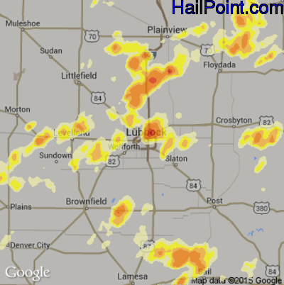 Hail Map for Lubbock, TX Region on May 27, 2015