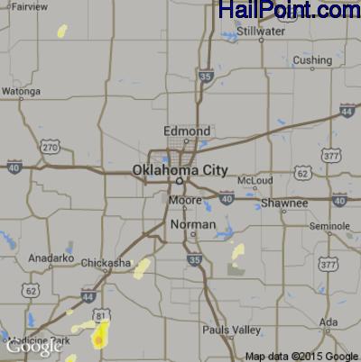 Hail Map for Oklahoma City, OK Region on May 28, 2015