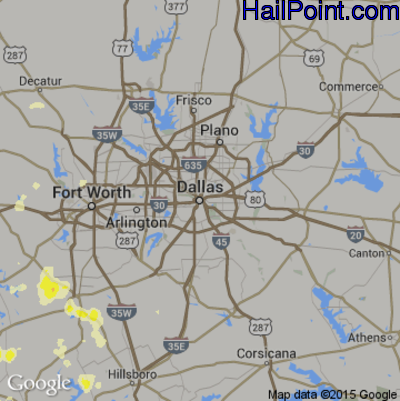Hail Map for Dallas, TX Region on May 30, 2015