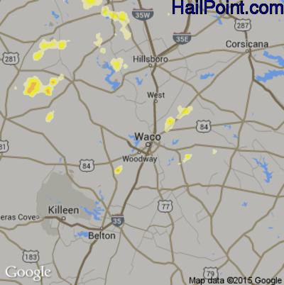 Hail Map for Waco, TX Region on May 30, 2015