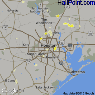 Hail Map for Houston, TX Region on May 30, 2015
