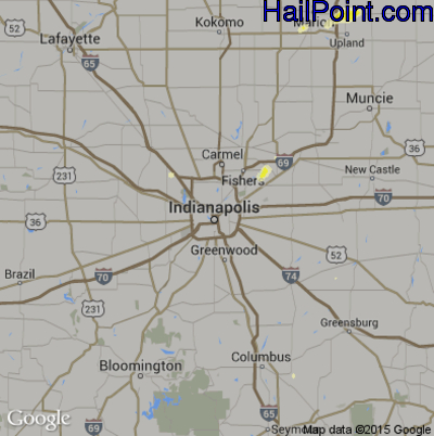 Hail Map for Indianapolis, IN Region on May 30, 2015