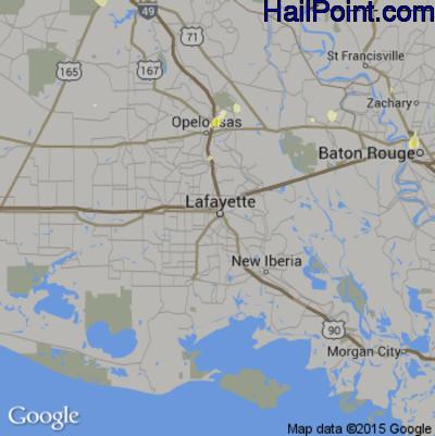 Hail Map for Lafayette, LA Region on May 30, 2015
