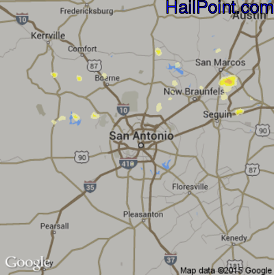 Hail Map for San Antonio, TX Region on May 30, 2015